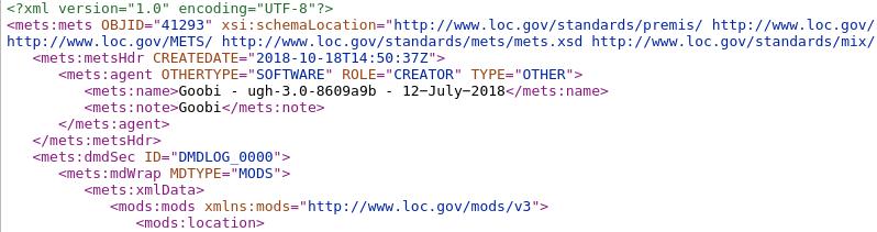 Ausschnitt einer METS-Datei